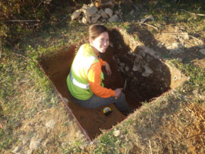 Charity Moore Excavating a Test Unit