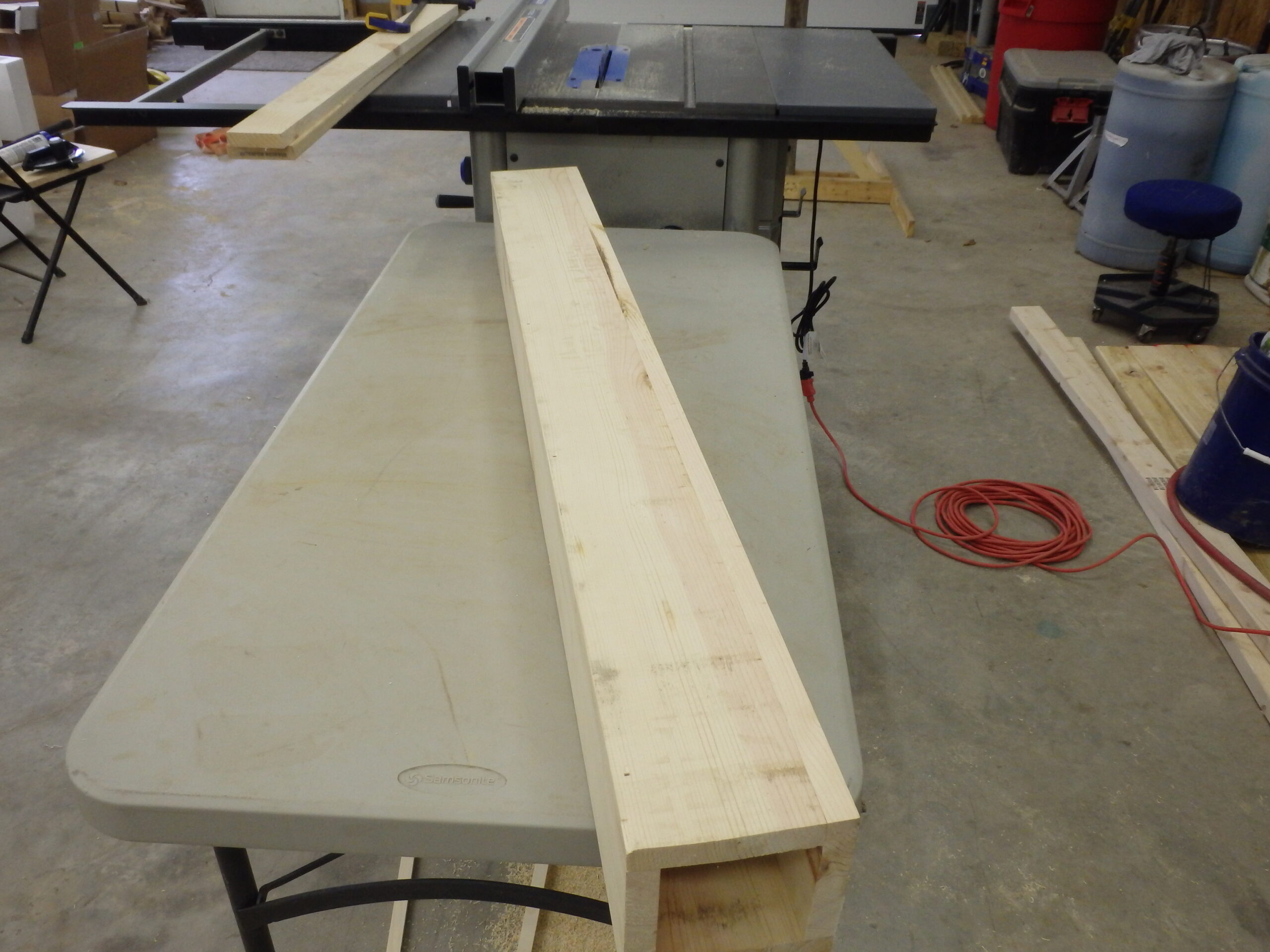 The first step of our construction process: creating the central column