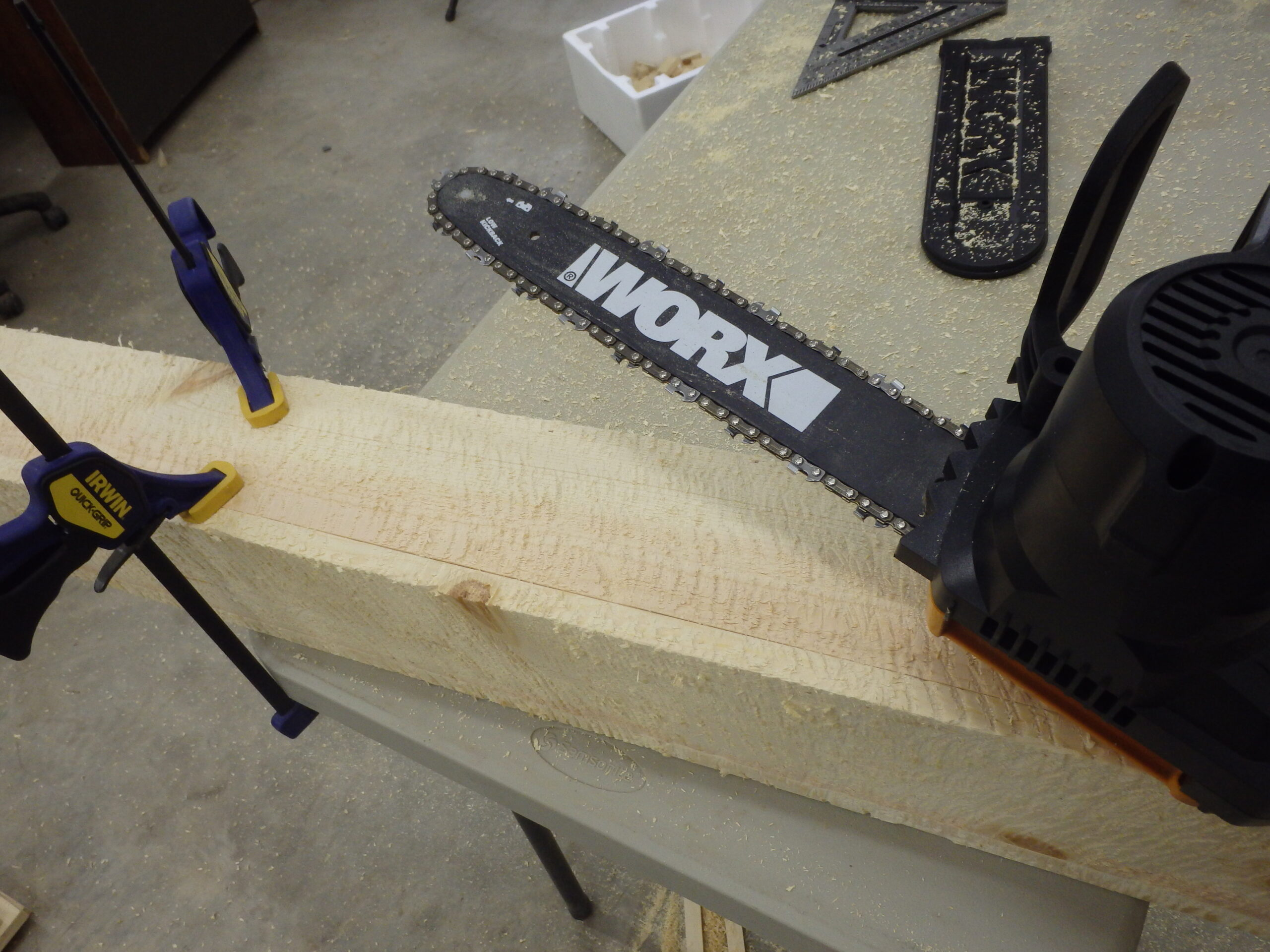 We use a chainsaw to roughen the interior surface for a better interior texture.